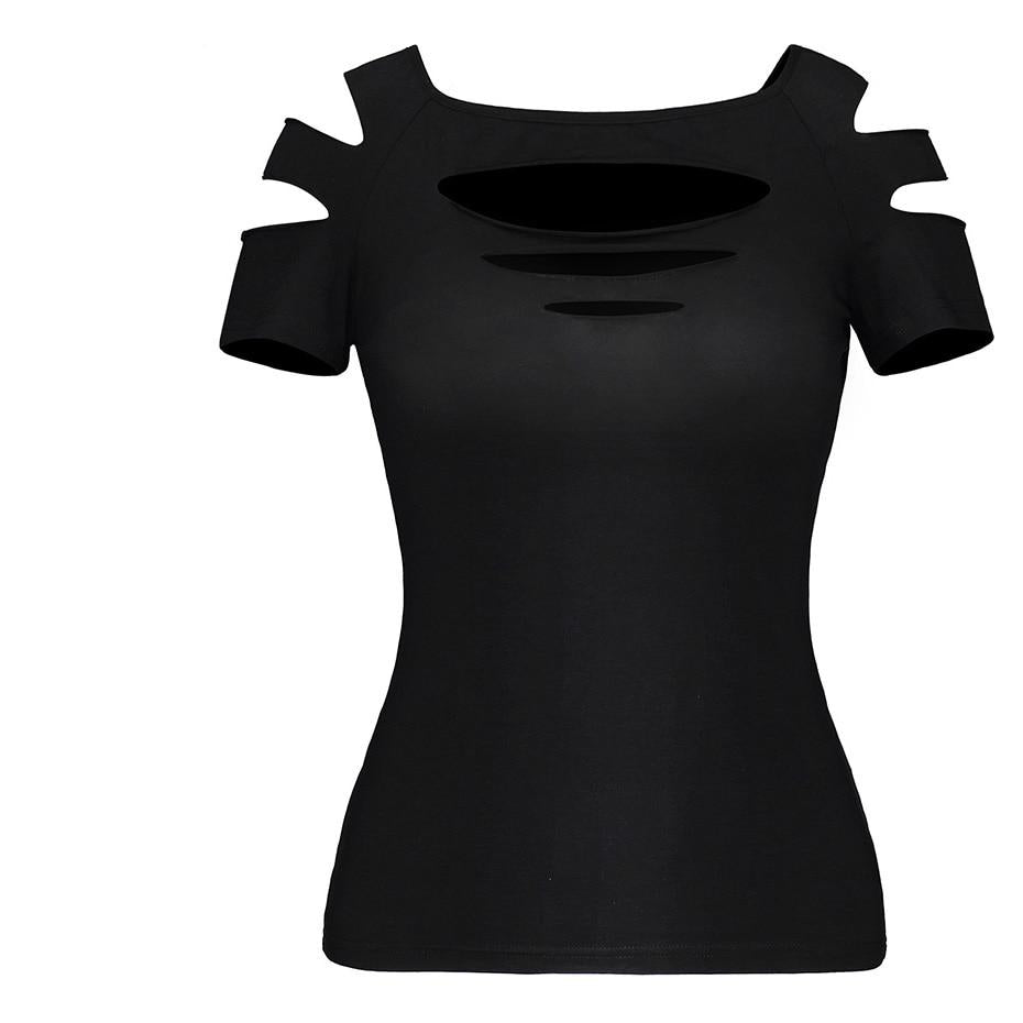 Gothic Slim Hollow-Out Cut  Sleeve Top