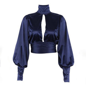 Gothic Dark Blue Turtle Neck Vintage Backless Top