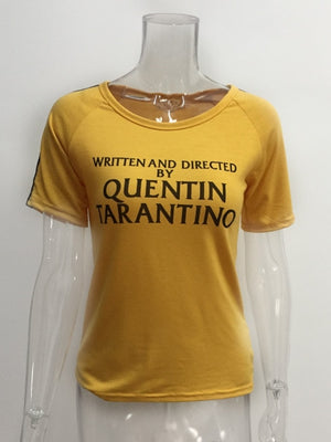 Written And Directed Quentin Tarantino Yellow T Shirt