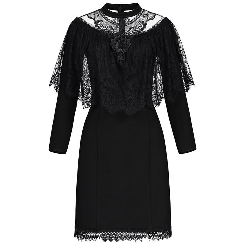 Gothic Autumn Black Mesh Lace Dress