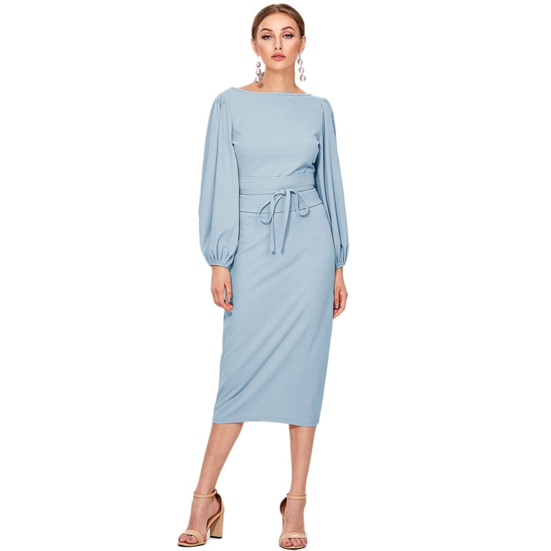 Puffed Sleeve Business Woman Dress