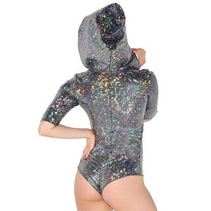 Holographic hooded lace front bodysuit