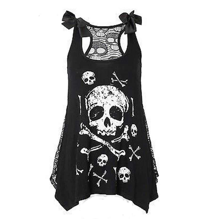 Gothic Black Lace Bow Skull Print Top
