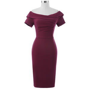 Naomi Off The Shoulder Vintage Style Pencil Dress