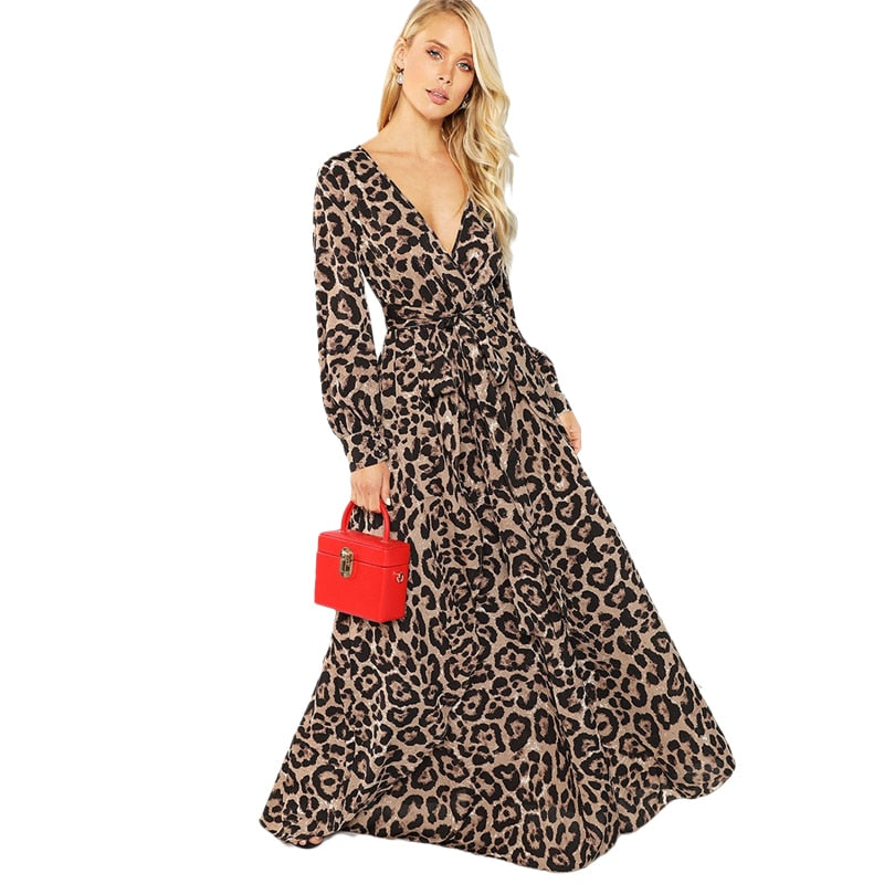 Leopard Print Long-Sleeve Maxi Dress