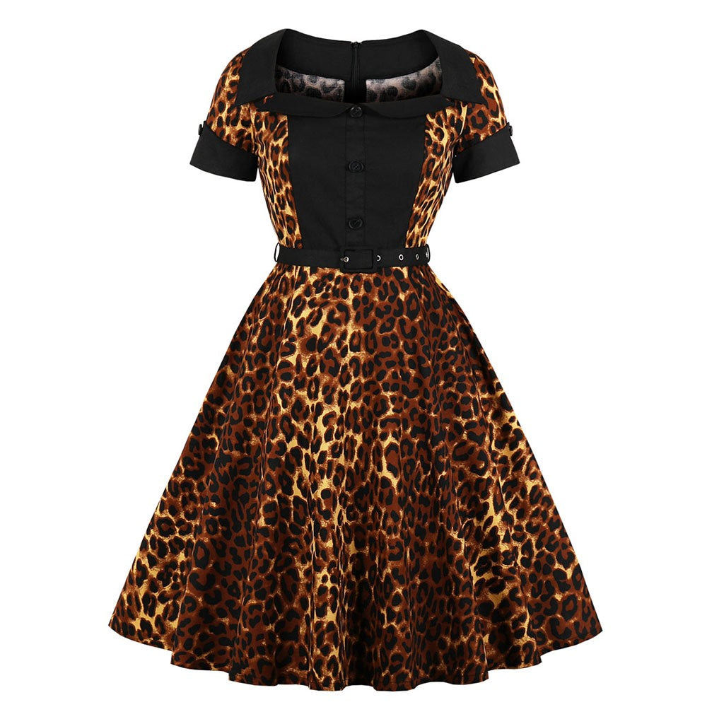 Vintage Leopard Print Swing Dress