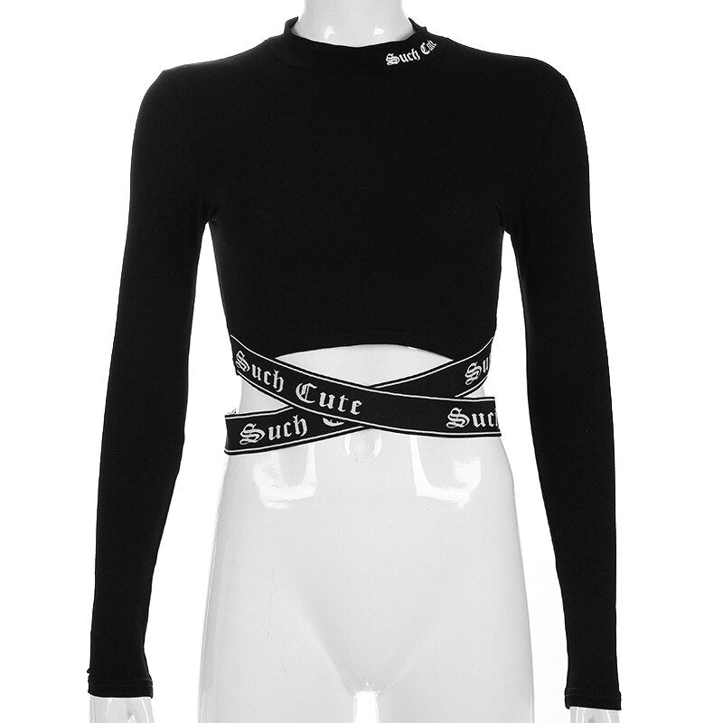 Such Cute Gothic Long Sleeve Collar Cross Crop Top