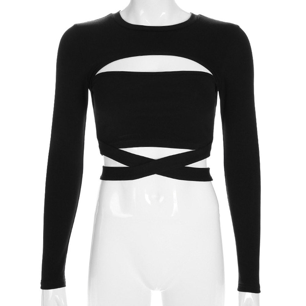 Gothic Long Sleeve Lace up Hollow Crop Top