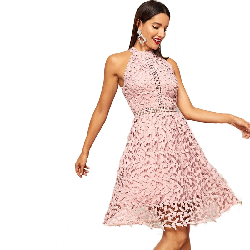 Going Out Pink Lace Halter Dress