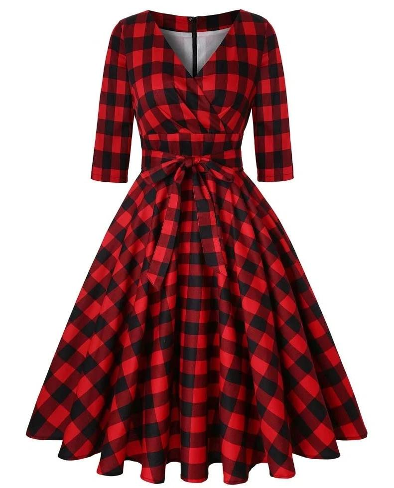 Deena Plaid Half Sleeve 50s Style Swing Dress