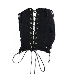 Gothic Black Denim Ripped Lace Up Shorts