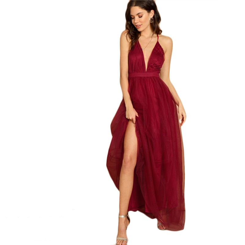 Deep Plunge Sexy Party Dress