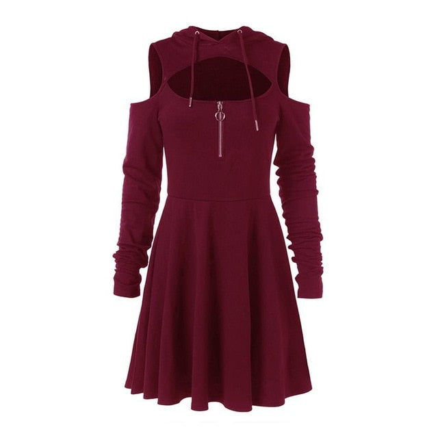 Gothic Long Sleeve Hoodie Dress