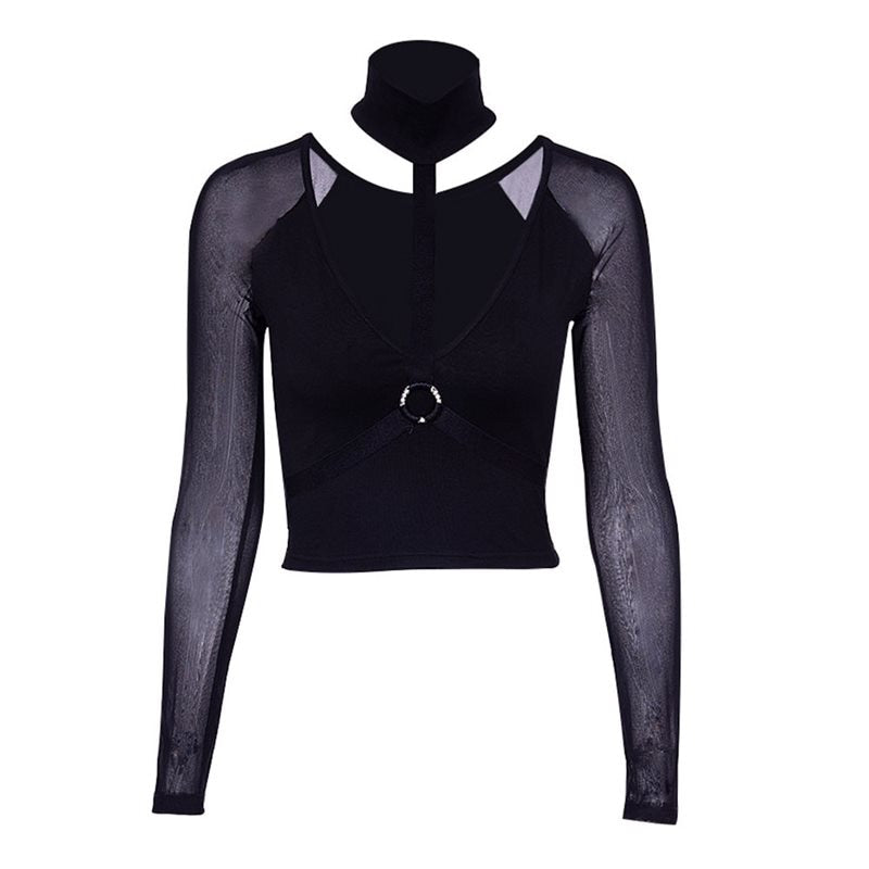 Gothic Black Long Sleeve Mesh Turtle Neck Top