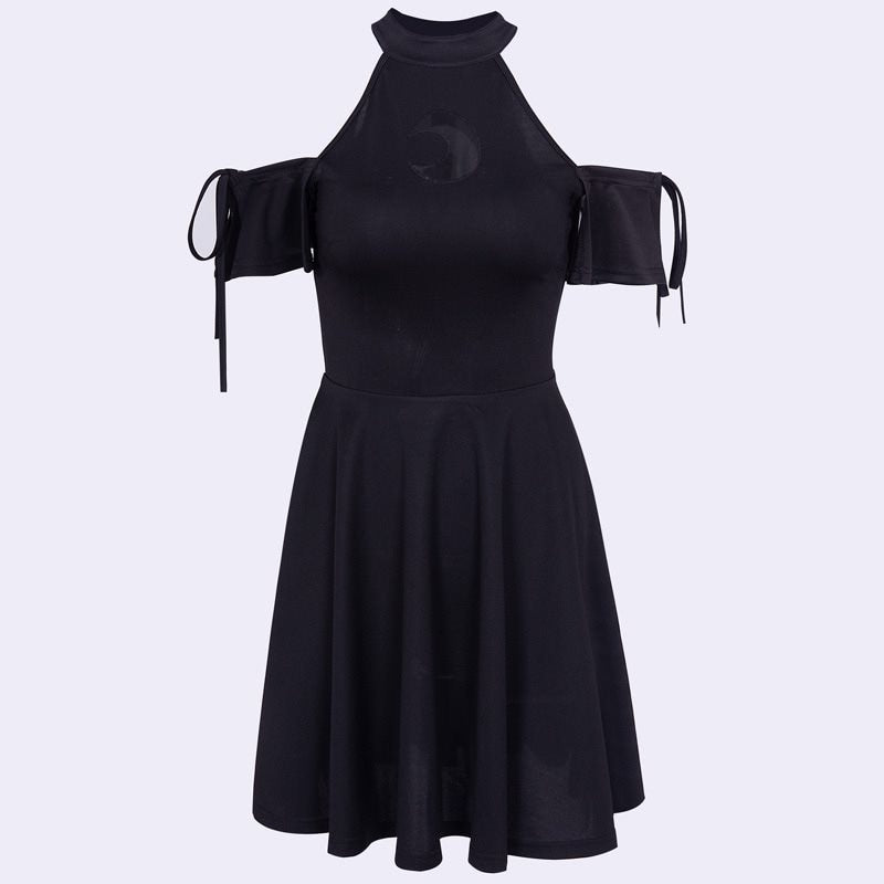 Gothic Halter Off Shoulder Black Moon Hollow Lace Up Dress