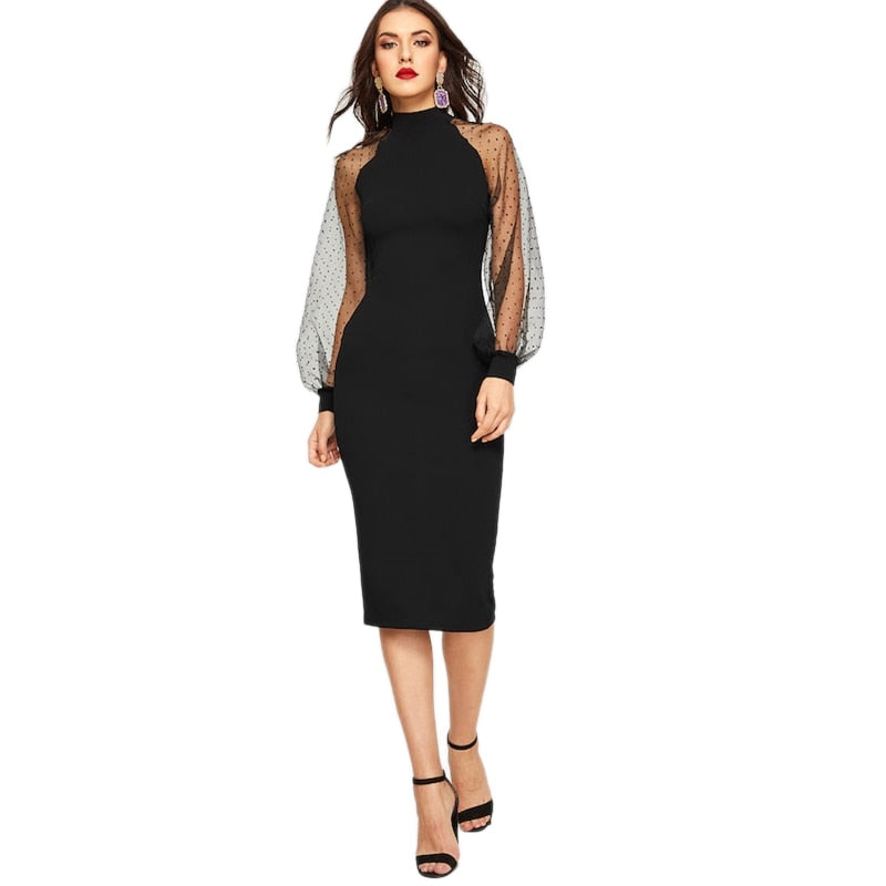 Miranda Bodycon Mesh Sleeve Dress