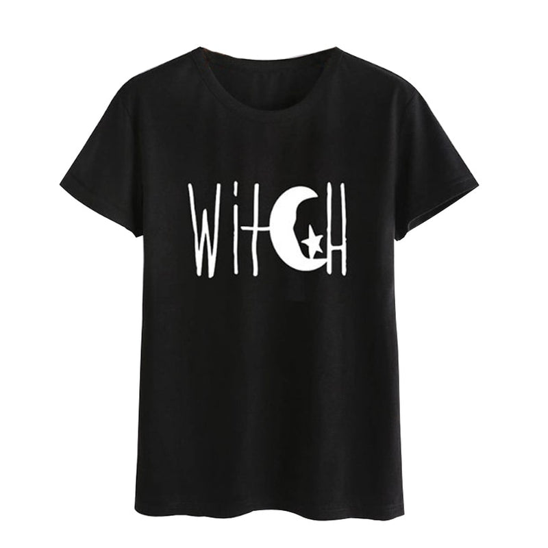 Black Gothic Witch O Neck T Shirt