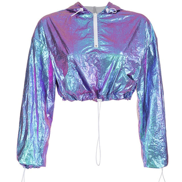 Holographic Cropped Hooded Pullover Jacket