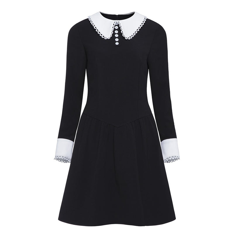 Gothic Long Sleeve Black School Girl Collar Dress