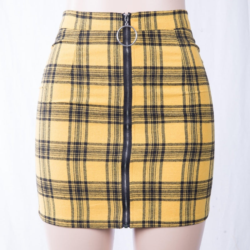 Punk Rock High Waist Plaid Mini Skirt