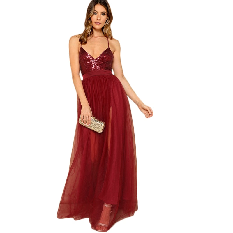 Elegant Burgundy Open Back Party Dress
