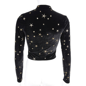 Star Long Sleeve Lace Up Crop Top
