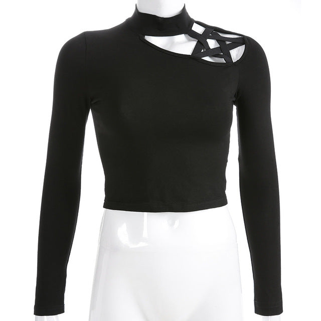 Gothic Pentagram shoulder hollow out turtleneck long sleeve Top