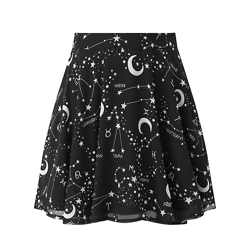 Gothic Astrology Skater Mini Skirt