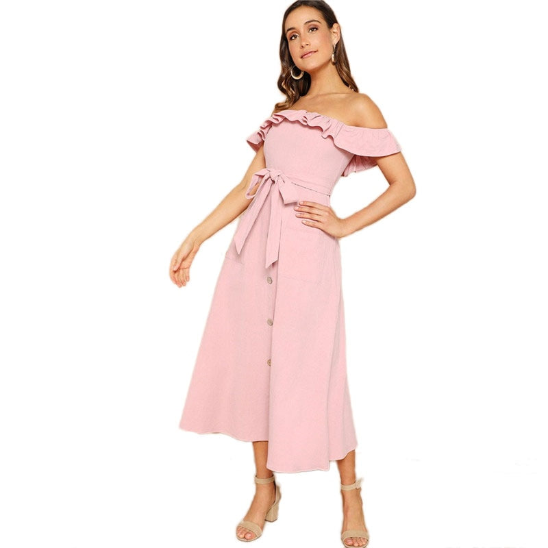 Pink Flouncy Off-Shoulder Button Dress
