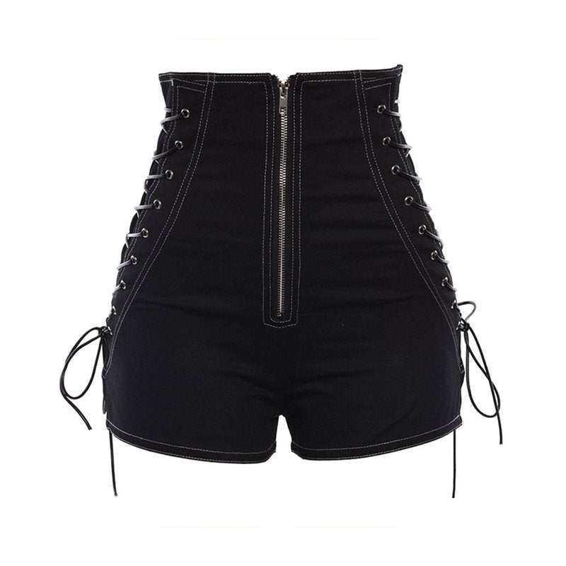 Gothic High Waist Lace Up Shorts