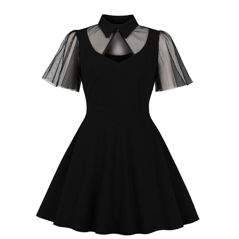 Gothic Lace Short Sleeve Black Dress