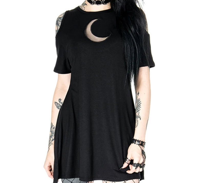 Gothic Hollow Out Moon Mini Dress