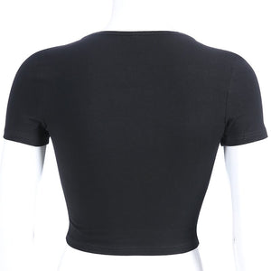 Punk Crop Top With PU Buckle Straps