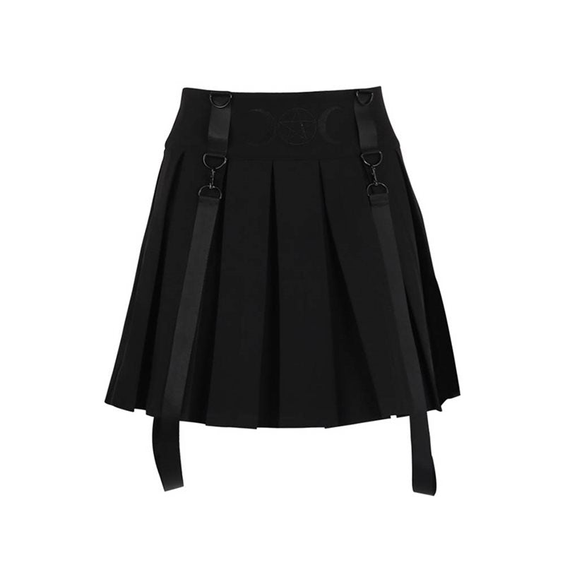 Gothic Suspender Moon Pentagram Pleated High Waist Mini Skirt