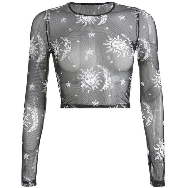 Gothic Mesh Sun And Moon Long Sleeve Crop Top
