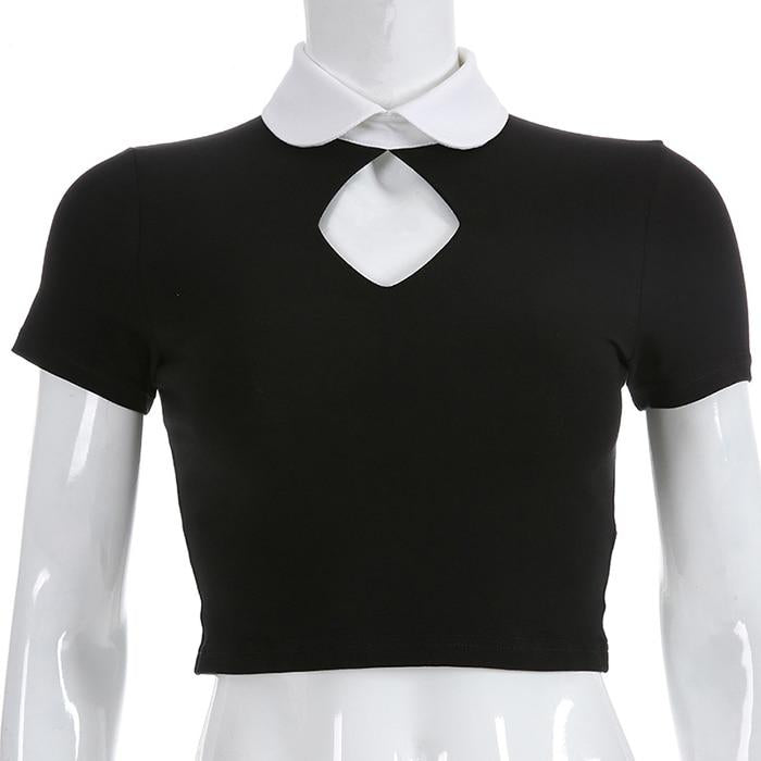 Gothic Key Hole White Collar Crop Top