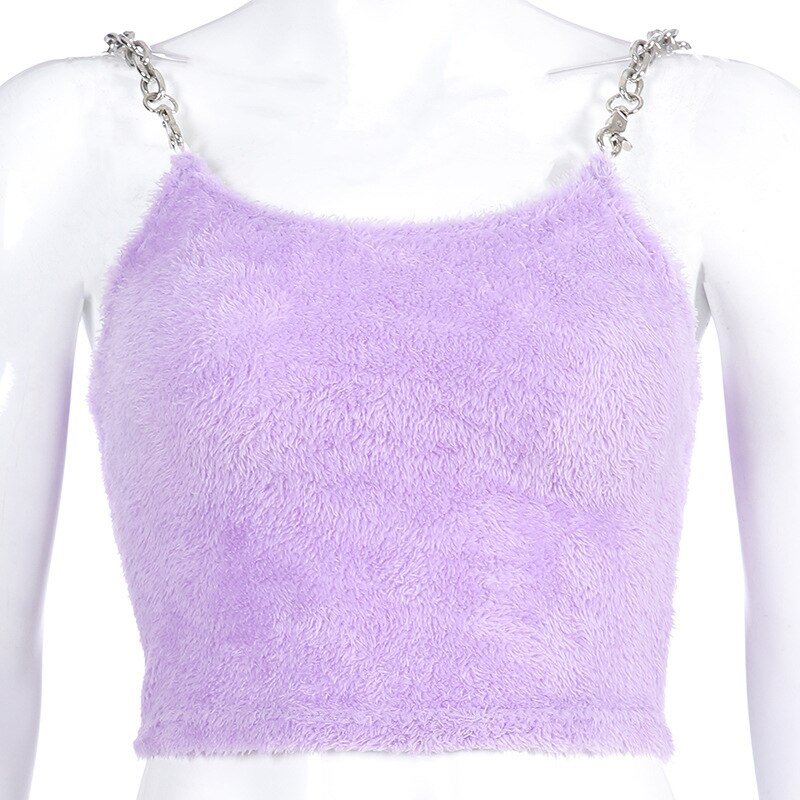 Fuzzy Purple Chain Spaghetti Strap Crop Top