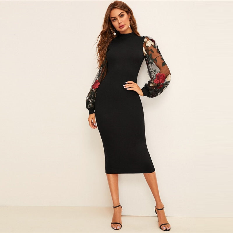 Flower Embroidered Mesh Sleeve Bodycon Dress