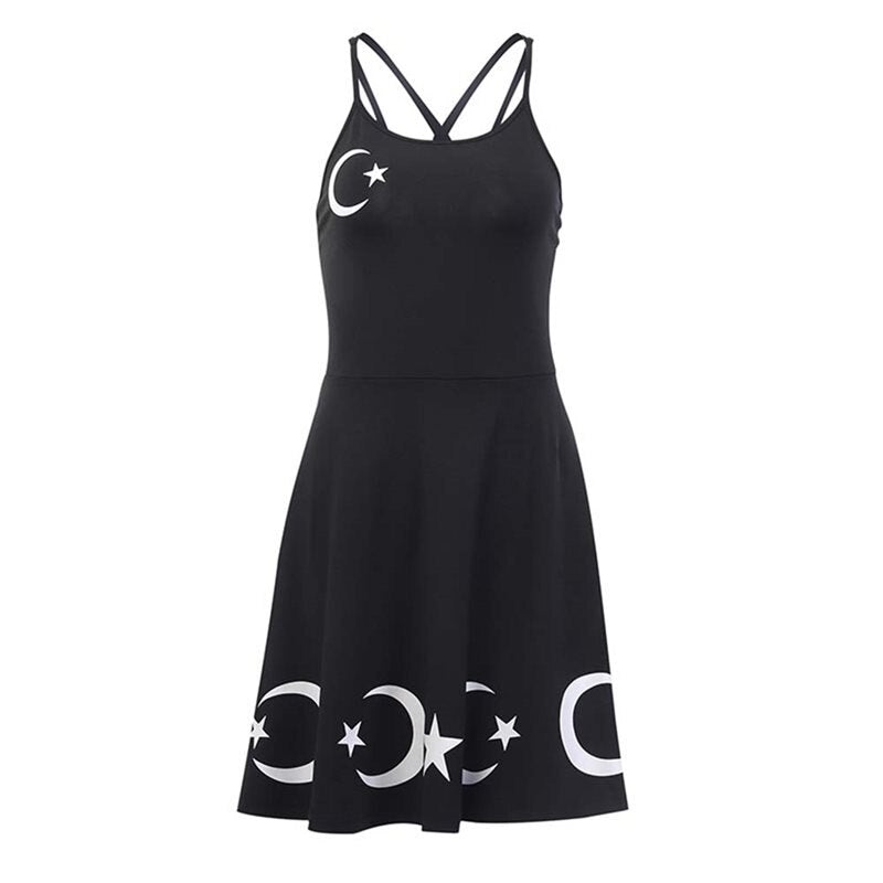 Gothic Mini Dresses Star Moon Spaghetti Strap Dress
