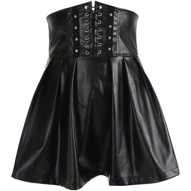 Gothic Faux Leather Pleated Skirt