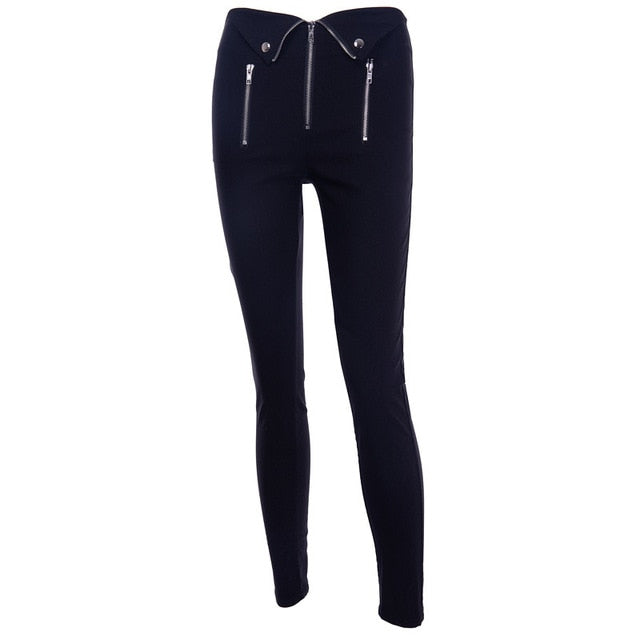 Gothic Zip Black Fold Pants