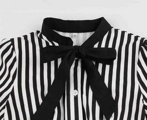 Pinup Black and White Stripped bow Swing Dress