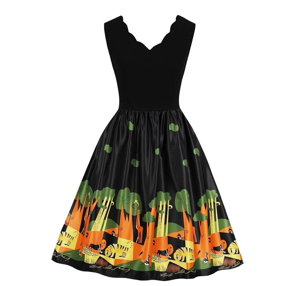 Pinup Jungle Print V Neck Swing Dress