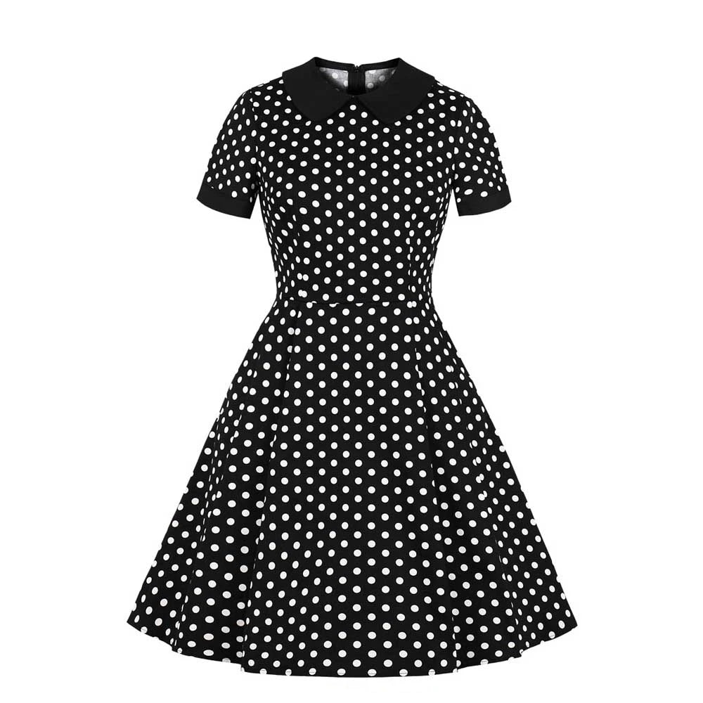 Pinup Peter Pan Collar Black & White Polka Dot Swing Dress