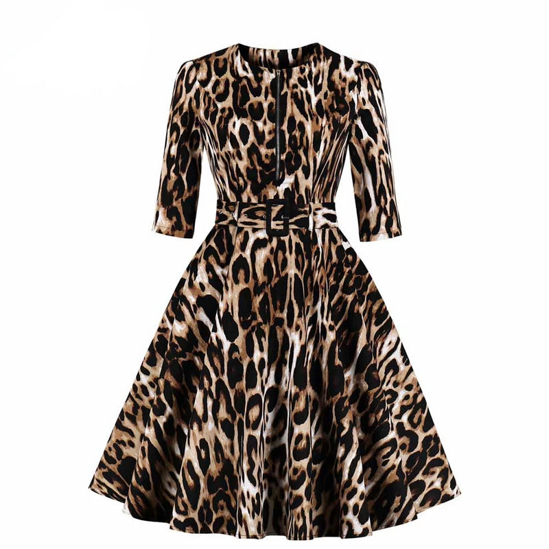 Pinup Leopard Print  3/4 Sleeve Swing Dress