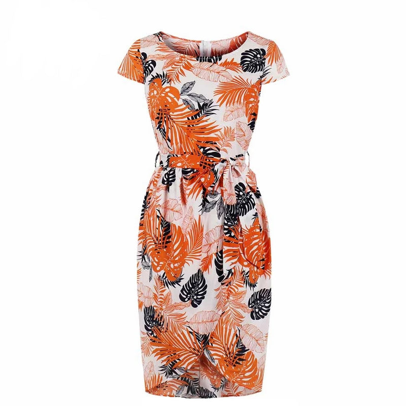 Short Sleeve Orange Leaves Print Vintage Pencil Dress