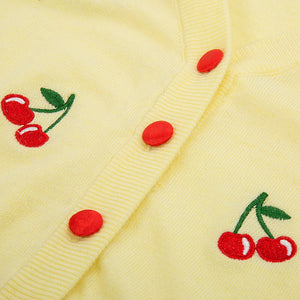 Posie Knitted Cherry Embroidery Cropped Cardigan