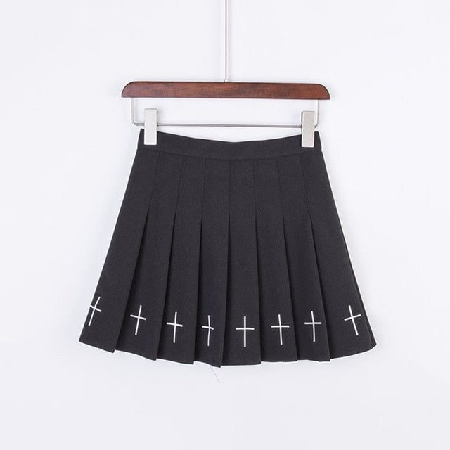 Gothic Pleated Cross Skirt