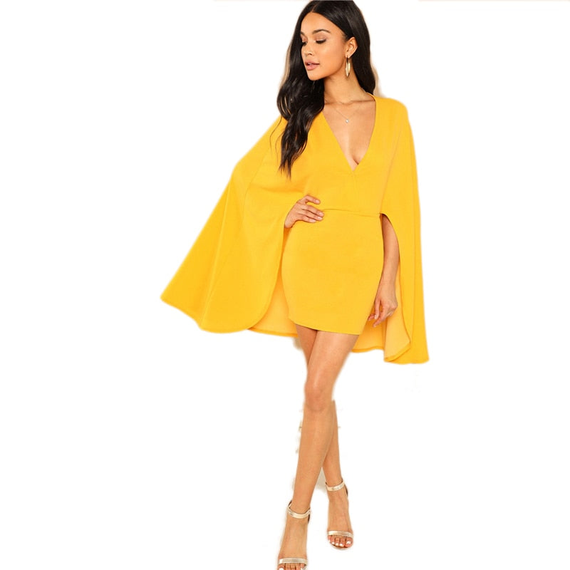 Funky Plunging Cape Party Dress