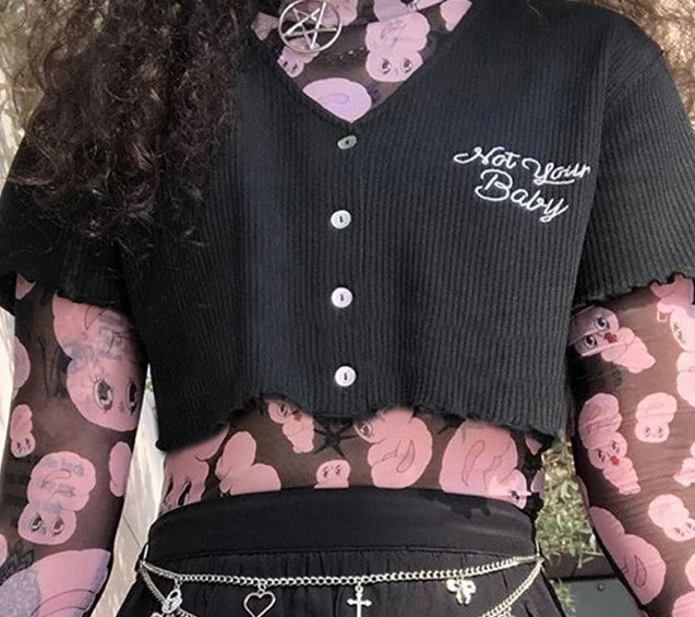 Not Your Baby Gothic Button Up Crop Top